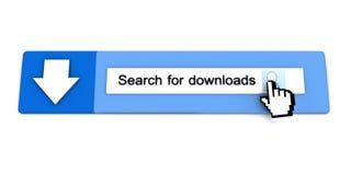 Abbildung 3D der Recherche und des Downloads Stockbild