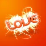 Abbildung 3D der Wort Liebes-Orange Stockfoto