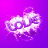 Abbildung 3D des Wort Liebes-Rosas Lizenzfreie Stockfotografie