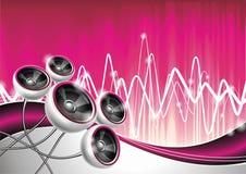 Abbildung auf einem musikalischen Thema mit Lautsprechern. lizenzfreie abbildung