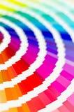 Abbildung auf Schwarzem Probe färbt Katalog Mehrfarbiger heller Hintergrund RGB CMYK Druckhaus Lizenzfreies Stockfoto