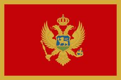 Abbildung auf weißem Hintergrund Offizielle Flagge von genauen Farben Montenegros Lizenzfreies Stockbild