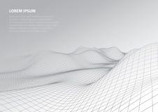 Abbildung 3D Abstrakte Landschaft auf einem grauen Hintergrund Cyberspacegitter lizenzfreies stockbild