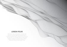 Abbildung 3D Abstrakte Landschaft auf einem weißen Hintergrund Cyberspacegitter lizenzfreie stockfotos