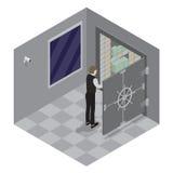 Abbildung 3d des geschlossenen Stahlsafes über weißem Hintergrund Offene Tür des Bank-Safes Banktresor Stockbilder