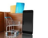 Abbildung 3D Dollar in der Geldbörse mit Warenkorb und smartp Stockbild