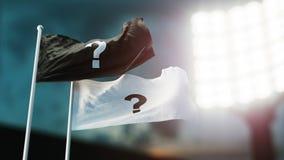 Abbildung 3D Flagslack zwei und Weiß mit den Fragezeichen, die auf Wind wellenartig bewegen Nachtstadion Meisterschaft 2018 Fußba lizenzfreie abbildung