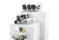 Abbildung 3D Geschäftsleute, die an Wachstumsbalkendiagramm arbeiten Stockbild
