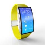 Abbildung 3D Kreatives Geschäft und tragbare Geräte: intelligente Uhr mit einer hellen Anzeige auf Weiß mit Reflexionseffekt lizenzfreies stockbild