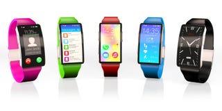 Abbildung 3D Kreatives Geschäft und tragbare Geräte: intelligente Uhren stellten mit einer hellen Anzeige ein, die auf Weiß mit R stockbilder