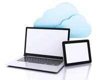 Abbildung 3D Laptop-PC und -tablette Rechnenkonzept der Wolke Lizenzfreies Stockfoto
