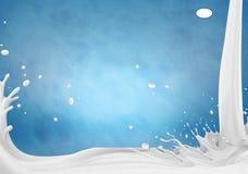 Abbildung 3D Milchspritzenillustration, realistische Milch spritzt lizenzfreie abbildung