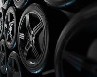 Abbildung 3D Vier Autoräder auf schwarzem Hintergrund Plakat- oder Abdeckungsentwurf stockbild