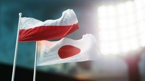 Abbildung 3D Zwei Staatsflaggen, die auf Wind wellenartig bewegen Nachtstadion Meisterschaft 2018 Fußball Polen gegen Japan vektor abbildung