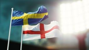Abbildung 3D Zwei Staatsflaggen, die auf Wind wellenartig bewegen Nachtstadion Meisterschaft 2018 Fußball Schweden gegen England vektor abbildung