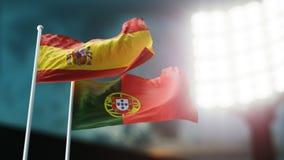 Abbildung 3D Zwei Staatsflaggen, die auf Wind wellenartig bewegen Nachtstadion Meisterschaft 2018 Fußball Spanien gegen Portugal stock abbildung
