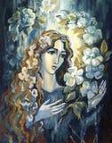 Abbildung - das Mädchen/die Frau und die Blumen Lizenzfreies Stockbild