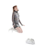 Abbildung der attraktiven Frau mit Einkaufstasche Stockbild
