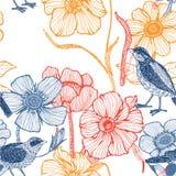 Abbildung der Blumen, Vogel Lizenzfreie Stockbilder