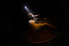 Abbildung der elektrischen Gitarre Akustikgitarre lokalisiert auf einem dunklen Hintergrund unter Lichtstrahl mit Rauche mit Kopi Lizenzfreie Stockfotos