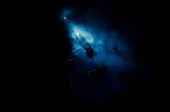 Abbildung der elektrischen Gitarre Akustikgitarre lokalisiert auf einem dunklen Hintergrund unter Lichtstrahl mit Rauche mit Kopi Lizenzfreies Stockbild