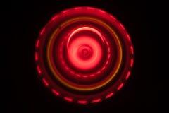 Abbildung der elektrischen Gitarre Glühendes Vinyl Freezelight auf dunklem Hintergrund oder Drehscheibe, die Vinyl mit glühenden  Lizenzfreie Stockbilder