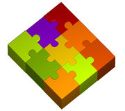 Abbildung der Farbenpuzzlespielstücke Lizenzfreies Stockfoto