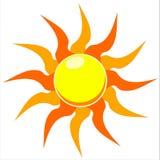 Abbildung der flammenden Sonne vektor Stockbilder