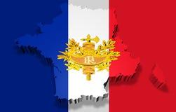 Abbildung der Frankreich-Karte mit Markierungsfahne Lizenzfreies Stockfoto