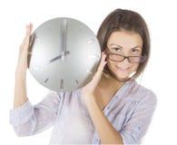 Abbildung der Frau mit großer Borduhr Lizenzfreies Stockfoto