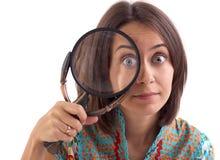 Abbildung der Frau mit Vergrößerungsglas Lizenzfreies Stockfoto