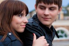 Abbildung der Frau und des Mannes (Fokus auf Frau) Lizenzfreie Stockbilder