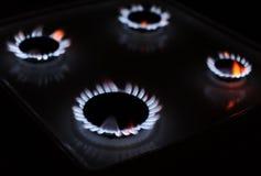 Abbildung der Gasflamme in der Schwärzung Stockfoto