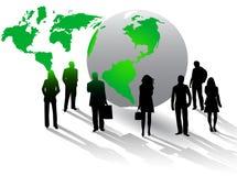 Abbildung der Geschäftsleute und der Welt Lizenzfreies Stockbild