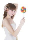 Abbildung der glücklichen Blondine mit Farbenlutscher Lizenzfreie Stockfotografie