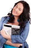 Abbildung der glücklichen Frau mit großem Notizblock Lizenzfreies Stockfoto