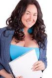 Abbildung der glücklichen Frau mit großem Notizblock Lizenzfreie Stockfotografie