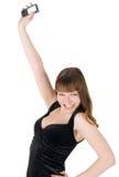 Abbildung der glücklichen Frau mit Handy Lizenzfreie Stockbilder