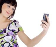 Abbildung der glücklichen Frau mit Handy Lizenzfreie Stockfotos