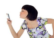 Abbildung der glücklichen Frau mit Handy Stockbilder