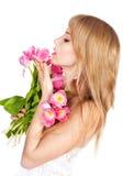 Abbildung der glücklichen jungen blonden Frau Stockfoto