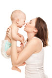 Abbildung der glücklichen Mutter mit entzückendem Schätzchen Lizenzfreie Stockfotos