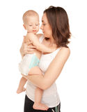 Abbildung der glücklichen Mutter mit entzückendem Schätzchen Lizenzfreies Stockbild