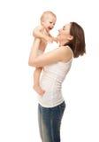 Abbildung der glücklichen Mutter mit entzückendem Schätzchen Lizenzfreie Stockbilder