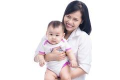 Abbildung der glücklichen Mutter mit entzückendem Schätzchen Stockbilder
