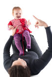 Abbildung der glücklichen Mutter mit Schätzchen über Weiß Lizenzfreies Stockfoto