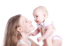 Abbildung der glücklichen Mutter mit Schätzchen über Weiß Stockbilder