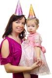 Abbildung der glücklichen Mutter mit Schätzchen Stockfoto