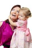 Abbildung der glücklichen Mutter mit Schätzchen Stockfotos