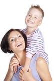 Abbildung der glücklichen Mutter und des kleinen Sohns Lizenzfreies Stockfoto